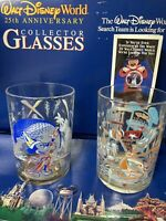 Vintage 2 Glass Cup Set - Disney World 25th Anniversary Mickey, Lumiere 14oz