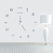 DIY 3D Acrílico Reloj De Pared Espejo Adhesivo Formato 12 Horas Silencioso HH