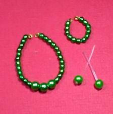 Barbie Dreamz BRIGHT GREEN Graduated Pearl Necklace Set OOAK Doll Jewelry