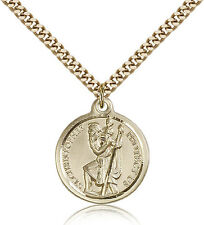 """Saint Christopher Medal For Men - Gold Filled Necklace On 24"""" Chain - 30 Day ..."""