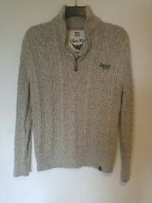 Men's Superdry Grey Zip Neck Henley Knitted Jumper Size Large