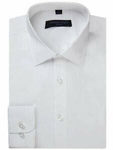 Andrew Fezza Men's Slim Fit Long Sleeve Solid Cotton Dress Shirt -Closeout Price