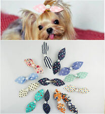 5PCS Sweet Long Rabbit Ears Pet Dog Cat Puppy Grooming Hair Bow Hair Clips