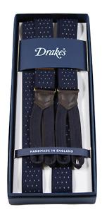 Drake's – Navy Narrow Polka Dot Suspenders, Navy Button-End, Made in England