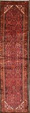 Vintage All-Over Traditional Hamedan Hand-Knotted 4'x14' Stair Runner Rug Wool