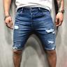 Men's Slim Fit Stretch Denim Shorts Jeans Flat Front Half Pants