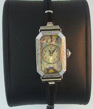 Antique 1920's Benrus Art Deco Enamel Floral Cloisonne Ladies Cord Watch