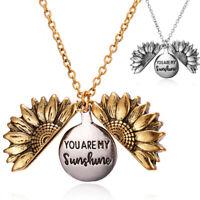 Du bist mein Sonnenschein Open Medaillon Sonnenblume Anhänger Halskette Schmuck