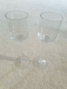 PARTYLITE CONTEMPORARY SET OT 2 TALL GLASS STEM TEALIGHT VOTIVE CANDLE HOLDERS