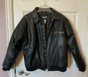 AVIREX Boys Thick Black Bomber Faux Leather Jacket Size L (16/18)