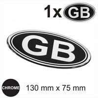 GB Oval RETRO 130mm Chrome on Black Metallic Sticker Dome 3D Gel Resin Decal car