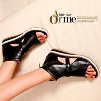 bd7a2478d251 Roman Womens Low Heels Open Toe Ankle Zipper Sandal Flat Cut Out Boots