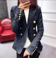spring Womens denim runways gold Metal Buttons suit Blazer Jacket coat outwear