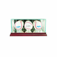 GLASS TRIPLE BASEBALL DISPLAY CASE UV PROTECTION CHERRY WOOD AND MIRROR BACK