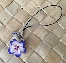 Hawaiian Plumeria Fimo Clay Cell Mobile Phone Strap Charm PURPLE Hawaii NEW