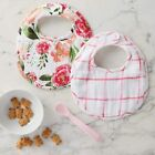 Mud Pie E1 Fresh Picked Baby Girl Muslin Floral Peony Bibs  Silicone Spoon Set