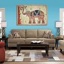 Indian Wall Hanging Elephant Handmade Vintage Tapestry Patchwork Embroidered