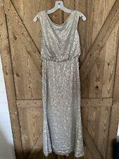 Davids Bridal Bridesmaid Dress Women's Small Silver Gray Sparkle Glitter