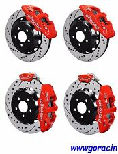 "Wilwood Brake Kit fits 2015-2018 Ford Mustang,15""/14"" Drilled Rotors,Red Caliper"