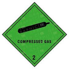 Compressed Gas 2 Hazard Warning Labels Stickers COSHH PPE