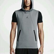 Nike Jordan Lite Tech Fleece Sleeveless Hoodie 2XL Gray Black Gym Casual New