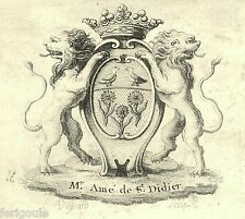 EX-LIBRIS d'AMÉ DE SAINT-DIDIER. Provence.