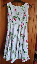 Ladies White Flower Cherry Print Summer Dress Size 10