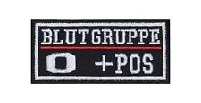 0 + Pos Blutgruppe Patch Aufnäher Badge Biker Heavy Rocker Bügelbild Kutte Stick