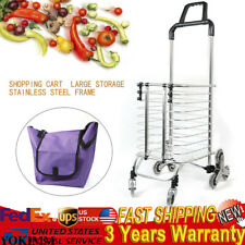 Folding Shopping Cart Stair Larger Storage Stainless Steel home pull cart light