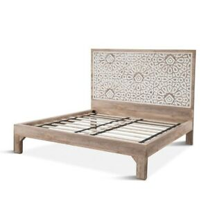 "85.5"" King Bed Cavred Natural White Mango Wood with Natural Oak Modern"