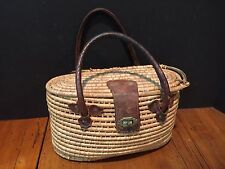 Antique Vintage Split Willow Fishing Creel Basket Leather Handles