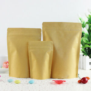 Kraft Paper Aluminum Foil Resealable for Zip Stand Up Lock Pouch Bags Food Pack