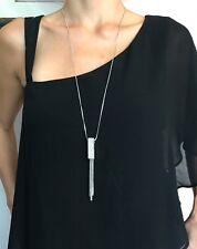 Silver Rectangle Rhinestone Tassel Long Sweater Chain Pendant Necklace