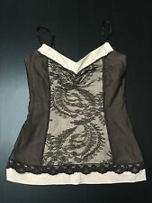 WOMENS  BEBE BROWN LACE SHIRT TOP BLOUSE   S