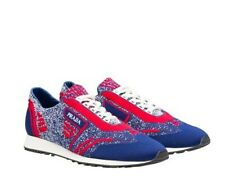 Prada 2EG272 Mens Knit Color 5 Multicolor Sneakers Shoes Indaco and Scarlett