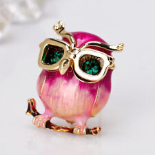 Fashion Glasses Owl Brooch Pin Jewelry Animal Brooches Accessories Enamel Pins D