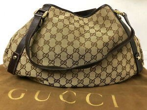 Gucci GG Monogram Hand Bag Purse Auth Brown Tote Shoulder bag