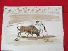 Vintage 1970 Bullfighting Pen & Ink/Watercolor BY ANGEL ZAPATA Valencia Spain