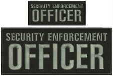 Security enforcement officer embroidery patch 4X10 and 2x5 hook grey letters