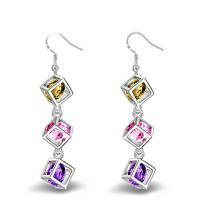Women 925 Silver Plated Crystal Beads Tassel Drop Dangle Ear Hook Earring Gift