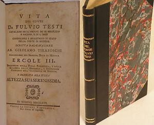 VITA DEL CONTE FULVIO TESTI - GIROLAMO TIRABOSCHI - VALOTTA (F121)