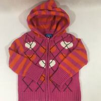 The Children's Place Girls Pink Zip Up Sweater Size 24 Months Stripes Hearts