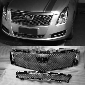 For 2013-2017 XTS Cadillac Chrome Front Mesh Bumper Grilles Upper & Lower Grille