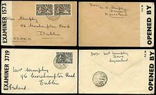 NYASALAND 1940 DOWA CENSORED COVERS to IRELAND...LEOPARD + SUN 2d + 1d x 2