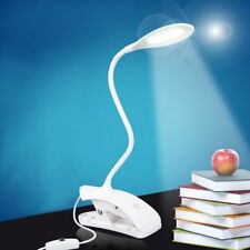 Daylight White LED Flexible USB Reading Light Clip-on Beside Bed Table Desk Lamp