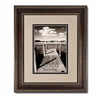 Set of 2  8x10 Ornate Bronze Photo Frames, Glass and Oyster/Espresso Mat for 5x7