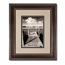 One 11x14 Ornate Bronze Picture Frame, Glass and Oyster/Espresso Mat for 8x10.