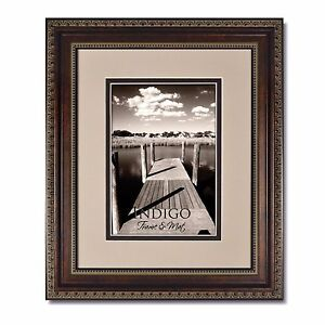 One 8x10 Ornate Bronze Picture Frame, Glass and Oyster/Espresso Mat for 5x7