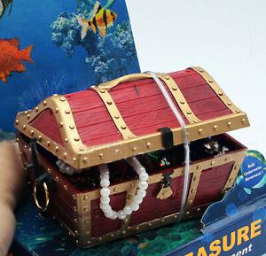 Large Treasure Chest Air Driven Ornament Fish Tank Decor Aquarium Decoration Red