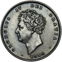 1826 SHILLING - GEORGE IV BRITISH SILVER COIN - V NICE